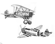 Biplane Drawings - War Airplanes by Murphy Elliott