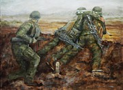 Trench Paintings - War Games by Sharen AK Harris