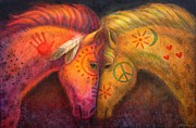 Animal Painting Prints - War Horse and Peace Horse Print by Sue Halstenberg