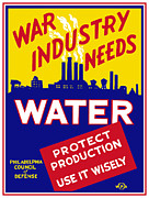 United States Government Mixed Media Prints - War Industry Needs Water Print by War Is Hell Store