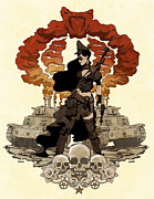 Pinup Metal Prints - War Maiden Metal Print by Brian Kesinger