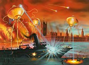Artillery Gun Framed Prints - War Of The Worlds, Artwork Framed Print by Richard Bizley