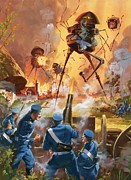 Novel Painting Framed Prints - War of the Worlds Framed Print by Barrie Linklater