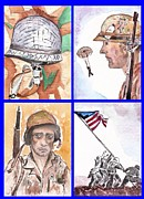 Hostilities Paintings - War Watercolor Collage by Myrna Migala