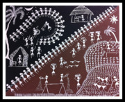 Warli Paintings - Warali day and night by Smita Sumant