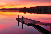 Dock Prints Posters - Waramaug Sunset Poster by Thomas Schoeller
