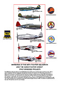 P-51-d Mustang Fighter Prints - Warbirds Of The 99TH Fighter Squadron and 332ND Fighter Group   Tuskegee Project Print by Jerry Taliaferro