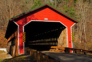Wooden Ware Framed Prints - Ware Covered Bridge Framed Print by Mike Martin
