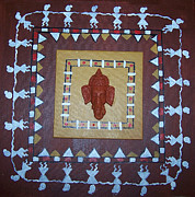 Warli Paintings - Warli Ganesh  by Anu Darbha