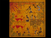 Warli Paintings - Warli people on cart by Poonam Rajput