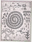 Warli Paintings - Warli Tribal People Celebrating Festival by Reetu Rustagi
