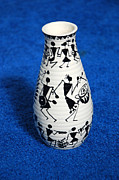 Indian Ceramics - Warli tribal vase by Subhash Limaye