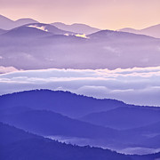 Crepuscular Rays Prints - Warm and Cool in the Blueridge Mountains Print by Rob Travis