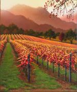 Napa Valley Vineyard Paintings - Warm Autumn Skies by Patrick ORourke