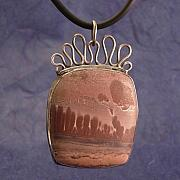 Sterling Silver Jewelry - Warm Brown Rhyolite Pendant by Lynette Fast