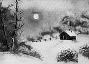 Snowy Trees Paintings - Warm Day  B and W by Barbara Griffin