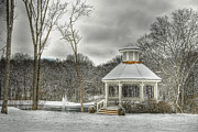 Snow Covered Digital Art Posters - Warm Gazebo on a cold day Poster by Brett Engle