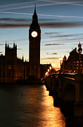 Big Ben Posters - Warm Glow on the Thames Poster by John Rizzuto