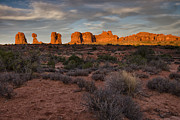 Rocks Metal Prints - Warm Glow over Arches Metal Print by Andrew Soundarajan