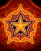 Ornamental Digital Art - Warm Star by Ann Croon