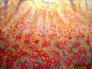 Sun Rays Painting Metal Prints - Warm Sun Rays Metal Print by Natalie Holland