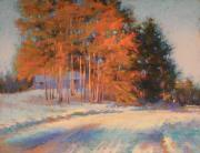 Snow Scene Pastels Framed Prints - Warm Sunlight on a Cold Winters Day Framed Print by Barbara Jaenicke