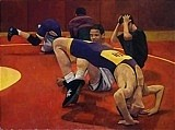Wrestling Painting Originals - Warm Up by Jane Fisher