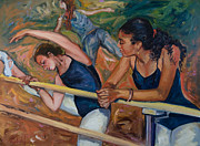 Ballet Dancers Paintings - Warm Up by Rick Nederlof
