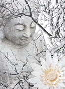 Buddha Art Mixed Media Framed Prints - Warm Winters Moment Framed Print by Christopher Beikmann
