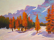 Mountains Painting Originals - Warming The Winter by Mohamed Hirji