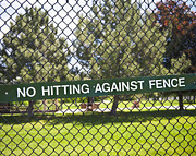 Baseball Field Art - Warning Sign on Chain Fence by Thom Gourley/Flatbread Images, LLC