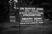 Stop Sign Prints - warning signs for restricted area of the UN buffer zone in the green line cyprus nicosia Print by Joe Fox