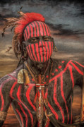 Frontier Art Digital Art Posters - Warpath Shawnee Indian Poster by Randy Steele