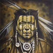 American Indian Portrait Prints - Warpath Print by Tim  Scoggins