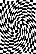 Op Art Digital Art Posters - Warped Checkers Poster by Brad Hartung