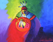 Contemporary Native Art Paintings - Warrior Colors by Lance Headlee