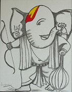 Vinayak Framed Prints - Warrior Ganesh Framed Print by Anu Darbha