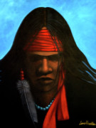 Contemporary Native Art Paintings - Warrior by Lance Headlee
