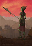 Green Skin Digital Art - Warrior Princess of Skorden by James Horsler