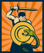 Warrior Posters - Warrior with sword serpent Poster by Aloysius Patrimonio