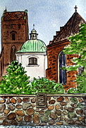 Travel Sketch Framed Prints - Warsaw Poland Framed Print by Irina Sztukowski