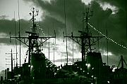 Warships At Twilight Print by Gaspar Avila