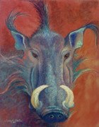 Hunt Pastels Framed Prints - Warthog Defiance Framed Print by Tracy L Teeter