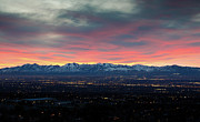 Salt Lake City Framed Prints - Wasatch Sunset Framed Print by Photo by Jim Boud