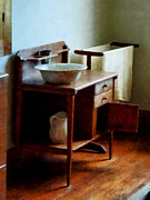 Housekeeper Prints - Wash Basin And Towel Print by Susan Savad
