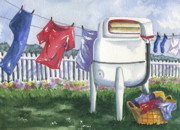 Washing Machine Painting Posters - Wash Day Blues Poster by Marsha Elliott