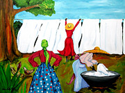Underground Railroad Paintings - Wash Day by Diane Britton Dunham