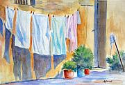 Wash Painting Originals - Wash Day in Marsaxlokk by Marsha Elliott