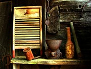 Old Cabins Framed Prints - Washboard Still Life Framed Print by Julie Dant