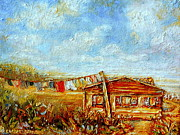 Quebec Houses Art - Washday Mondays Country Clothesline Quebec Summmer Landscape by Carole Spandau